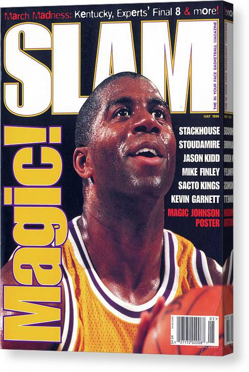 Magic Johnson Canvas Print featuring the photograph Magic! SLAM Cover by Getty Images