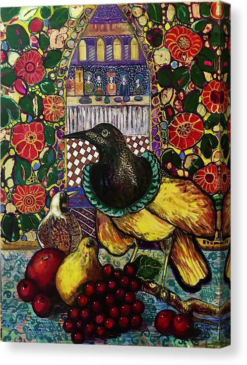 Crow Canvas Print featuring the painting Medieval dinner by Marilene Sawaf