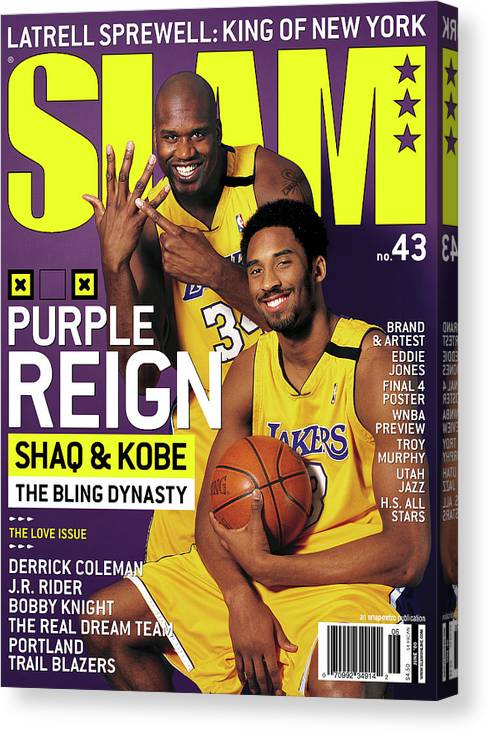Kobe Bryant Canvas Print featuring the photograph Purple Reign - Shaq & Kobe: The Bling Dynasty SLAM Cover by Getty Images