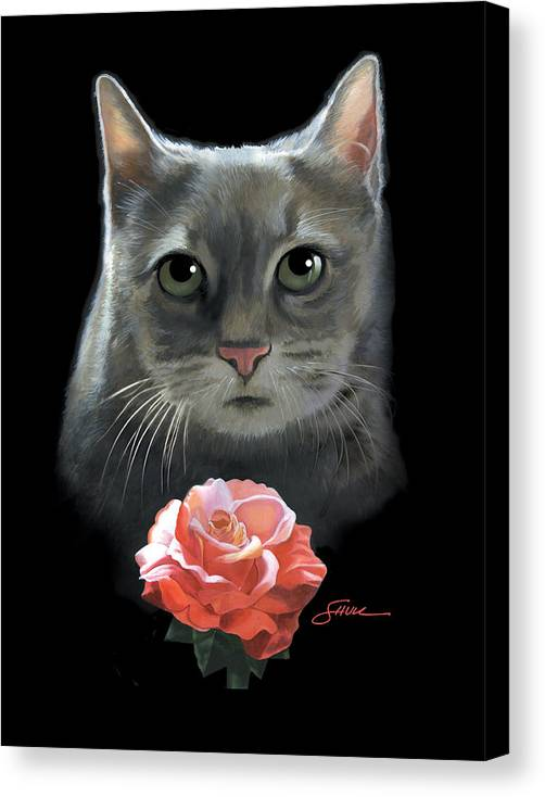 #cat Canvas Print featuring the painting Cleo And The Rose by Harold Shull
