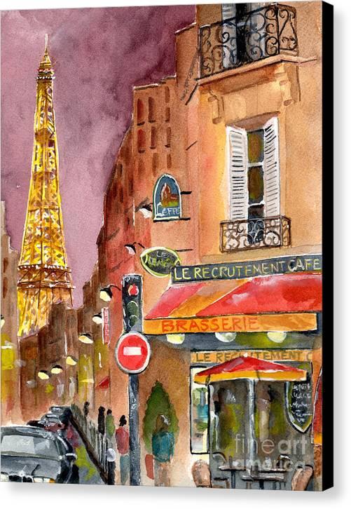 Evening In Paris Canvas Print by Sheryl Heatherly Hawkins