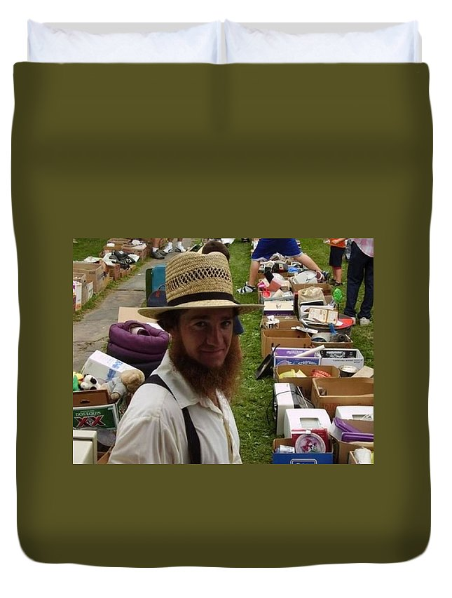 Ohio Amish Prints Duvet Cover featuring the photograph    Amish In The City by R A W M