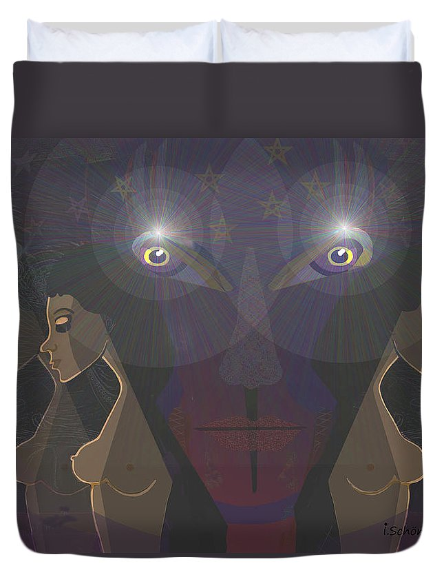 Woman Duvet Cover featuring the painting  464 - Virgins For Lucifer  by Irmgard Schoendorf Welch