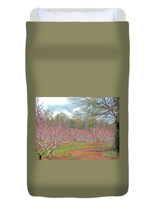 Peach Orchard Duvet Cover featuring the photograph A Peach Orchard  by Lydia Holly