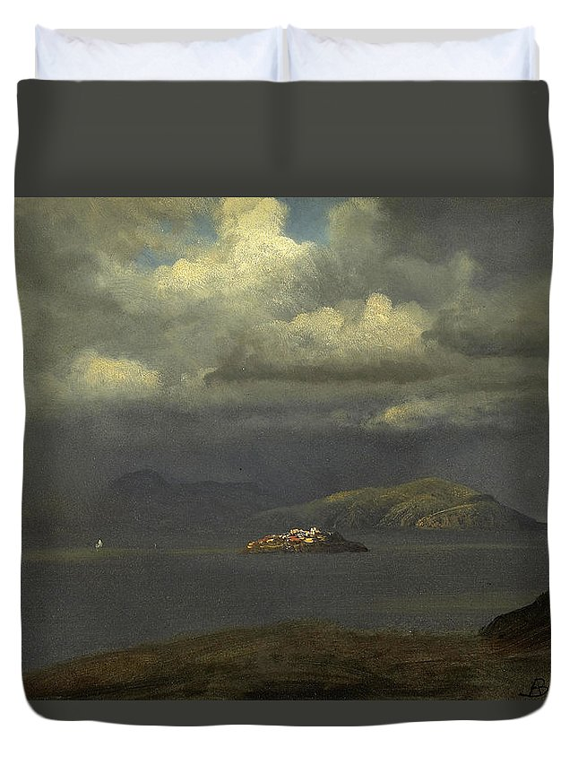 Albert Bierstadt Duvet Cover featuring the painting Alcatraz San Francisco Bay by Albert Bierstadt