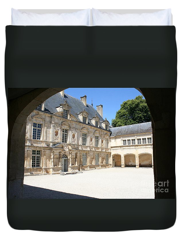 Palace Duvet Cover featuring the photograph Arch View Palace Bussy Rabutin by Christiane Schulze Art And Photography