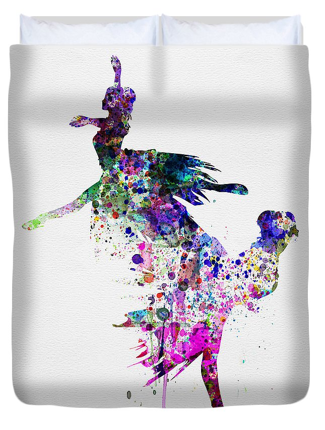 Ballet Duvet Cover featuring the painting Ballet Watercolor 3 by Naxart Studio