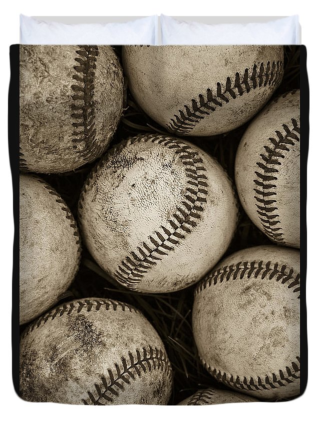 Baseball Duvet Cover featuring the photograph Baseballs by Diane Diederich