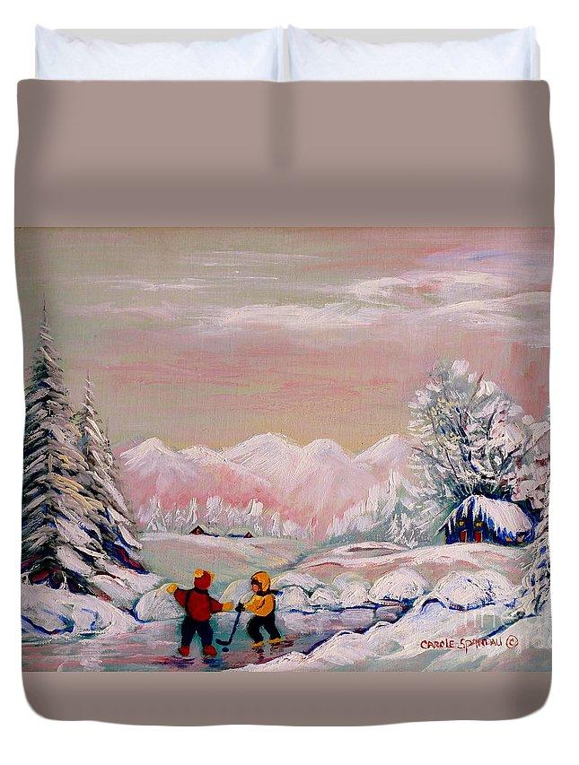 Beautiful Winter Fairytale Duvet Cover featuring the painting Beautiful Winter Fairytale by Carole Spandau