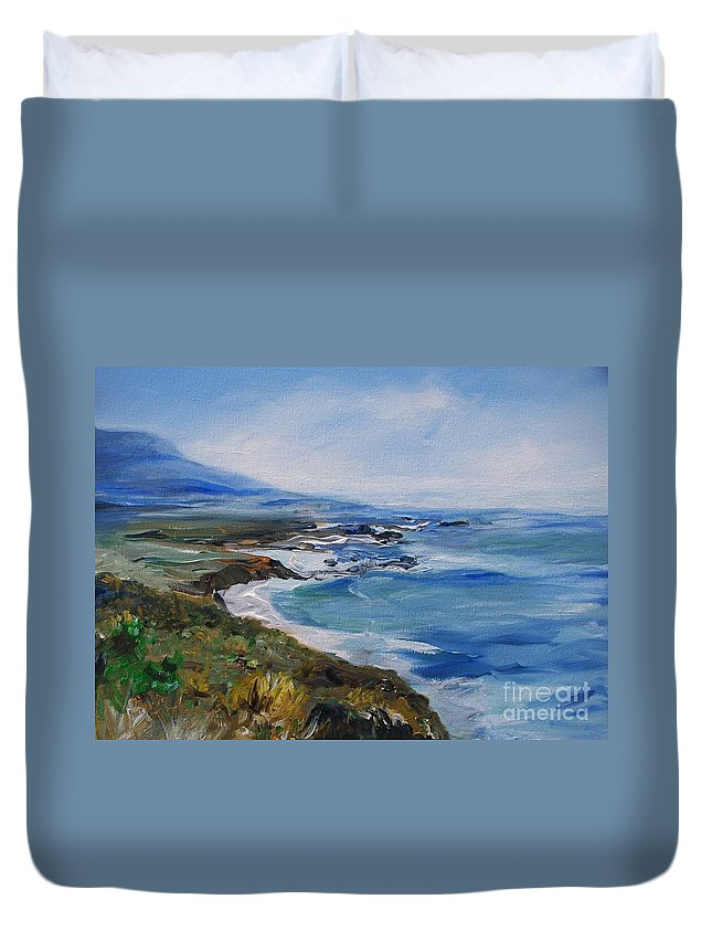 California Coast Duvet Cover featuring the painting Big Sur Coastline by Eric Schiabor