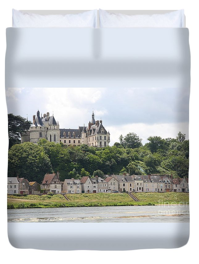 River Duvet Cover featuring the photograph Chateau De Chaumont Stands Above The River Loire by Christiane Schulze Art And Photography