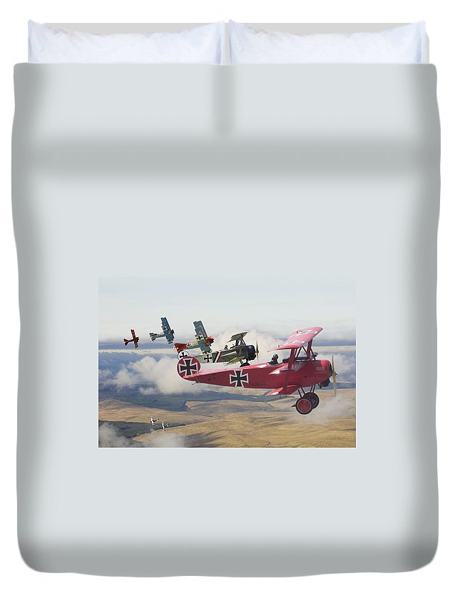 Aircraft Duvet Cover featuring the digital art Circus Comes To Town by Pat Speirs