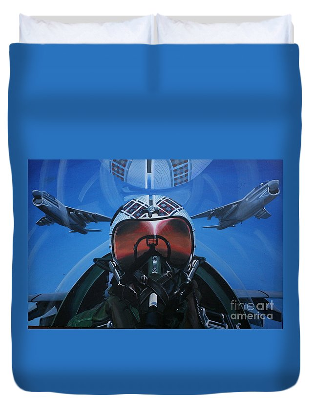 F8 Duvet Cover featuring the painting Colonel Dave Dollarhide by Richard John Holden RA