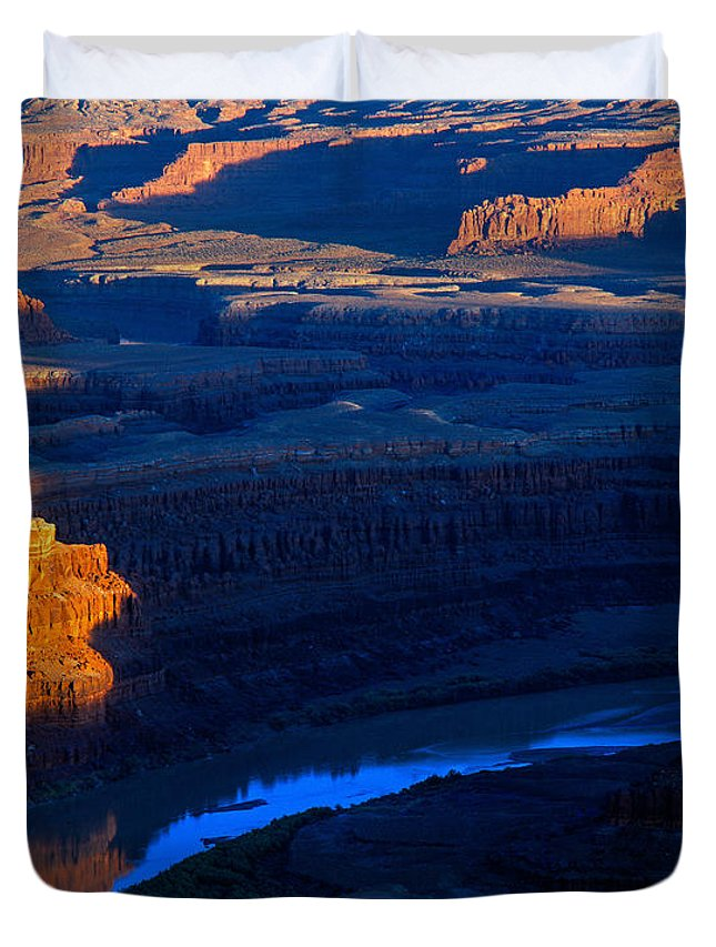 Buttes Duvet Cover featuring the photograph Colorado River Sunset by Tracy Knauer