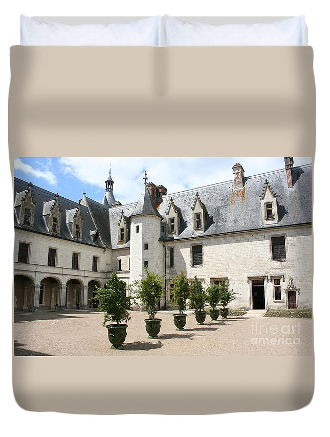 Palace Duvet Cover featuring the photograph Courtyard Chateau Chaumont by Christiane Schulze Art And Photography