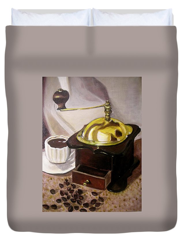Brown Duvet Cover featuring the painting Cup Of Coffee by Vera Lysenko