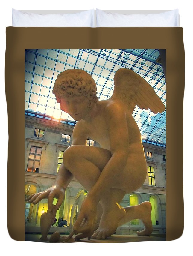 Cupid Playing With A Butterfly Duvet Cover featuring the photograph Cupid Playing With A Butterfly - Louvre Museum Paris by Marianna Mills