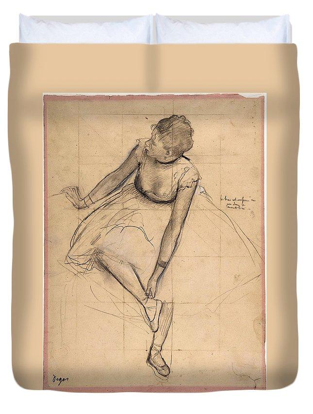 Edgar Degas Duvet Cover featuring the drawing Dancer Adjusting Her Slipper by Edgar Degas