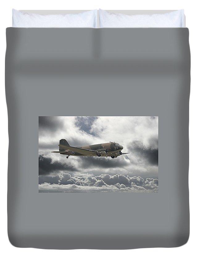 Aircraft Duvet Cover featuring the digital art  Dc3 Dakota  Workhorse by Pat Speirs
