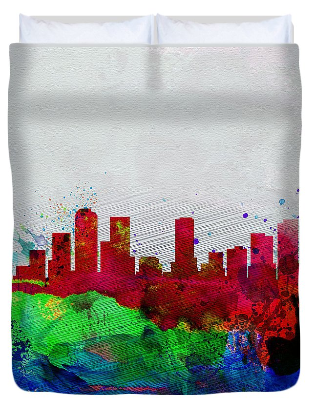 Denver Duvet Cover featuring the painting Denver Watercolor Skyline by Naxart Studio