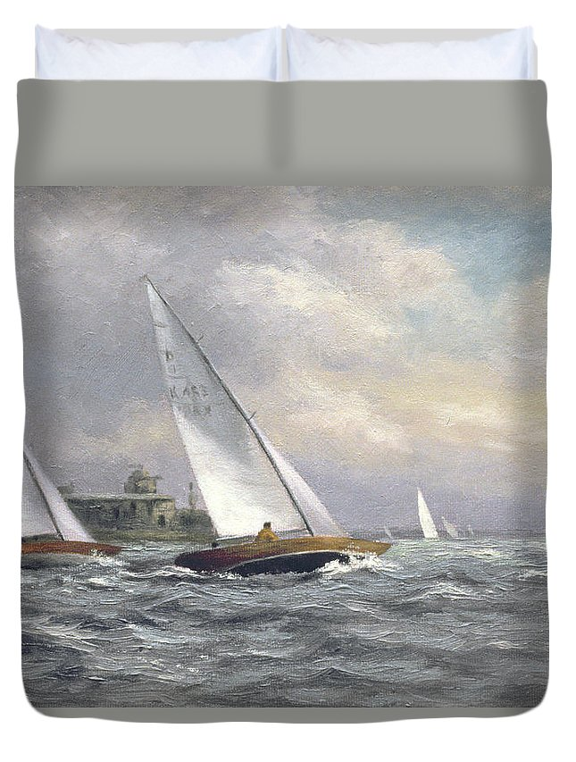 Yacht; Sailing; Dragon Class; Garrison Point Fort; Kent; Built 1860's; Medway Duvet Cover featuring the painting Dragons At Garrison Point by Vic Trevett