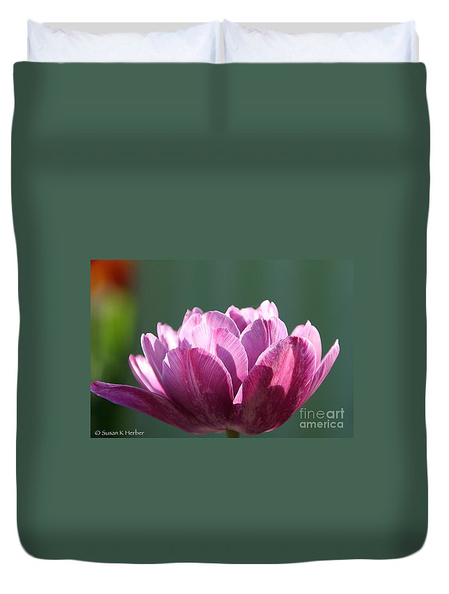 Flower Duvet Cover featuring the photograph Exotic Tulip by Susan Herber