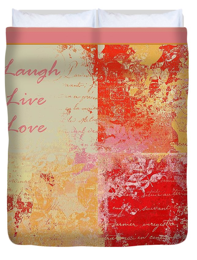 Live Duvet Cover featuring the digital art Feuilleton De Nature - Laugh Live Love - 01efr01 by Variance Collections