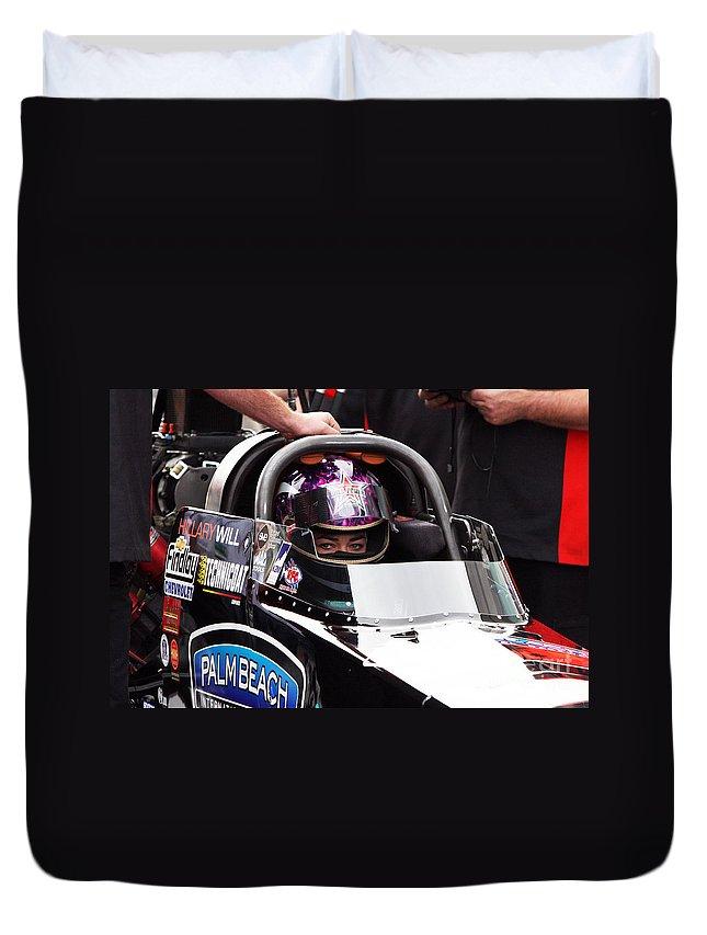 2008 Duvet Cover featuring the photograph Hillary Will Las Vegas Motor Speed Way Strip Nhra Finals 2008 by Gunter Nezhoda