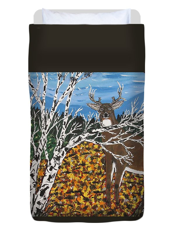 Deer Duvet Cover featuring the painting Hunter's Deer Camp by Jeffrey Koss