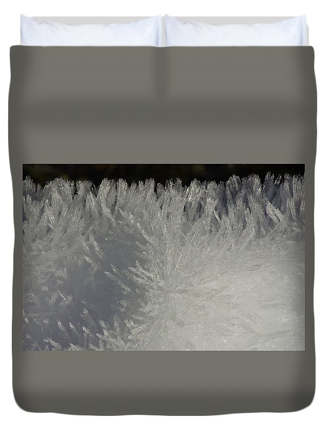 Snow Duvet Cover featuring the photograph Ice Crystal Formations by Tikvah's Hope