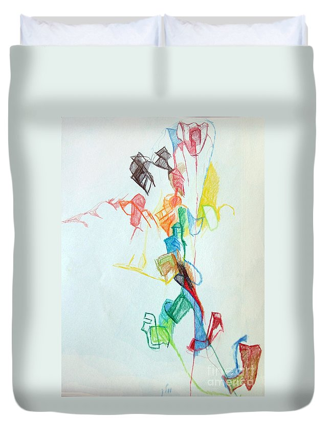 Torah Duvet Cover featuring the drawing If You Follow Me For One You Will Not Lose 1 by David Baruch Wolk