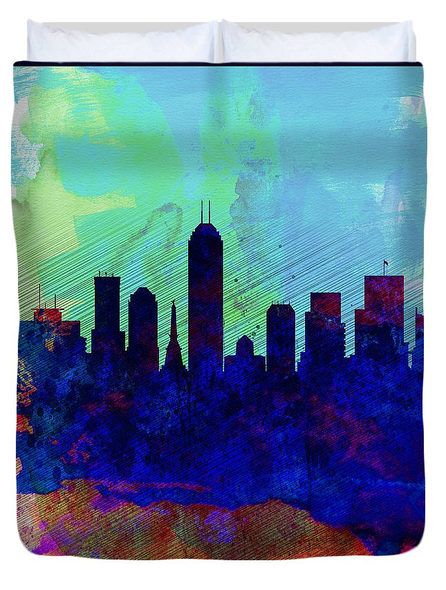 Indianapolis Duvet Cover featuring the painting IIndianapolis Watercolor Skyline by Naxart Studio