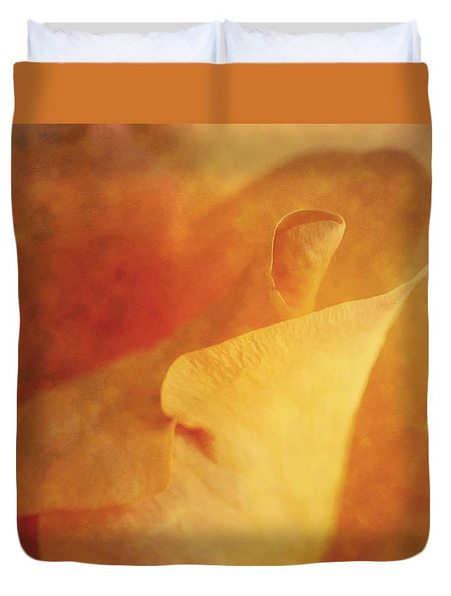 Yellow Rose Duvet Cover featuring the photograph Impression Of A Yellow Rose by John Vose