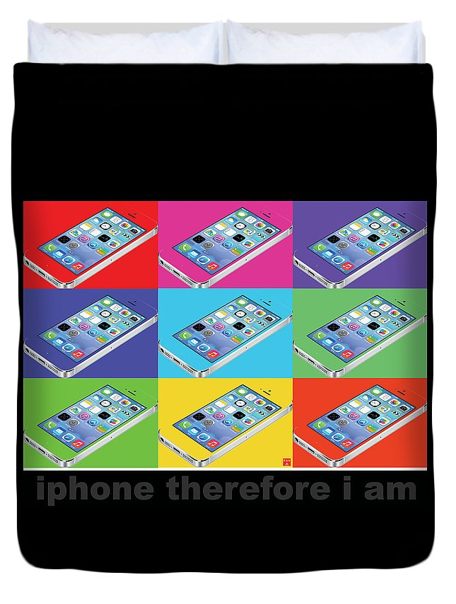 Pop Art Duvet Cover featuring the digital art Iphone Therefore I Am by Ran Andrews