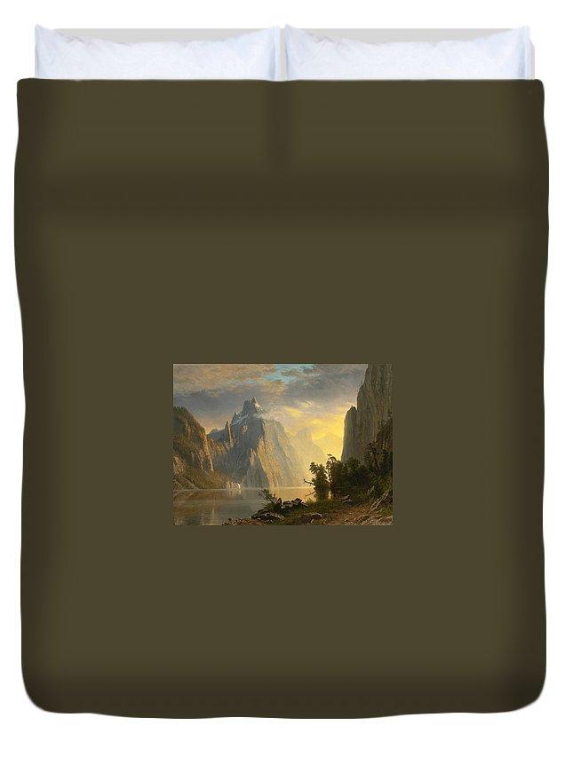 Lake In The Sierra Nevada Duvet Cover featuring the painting Lake In The Sierra Nevada by Albert Bierstadt