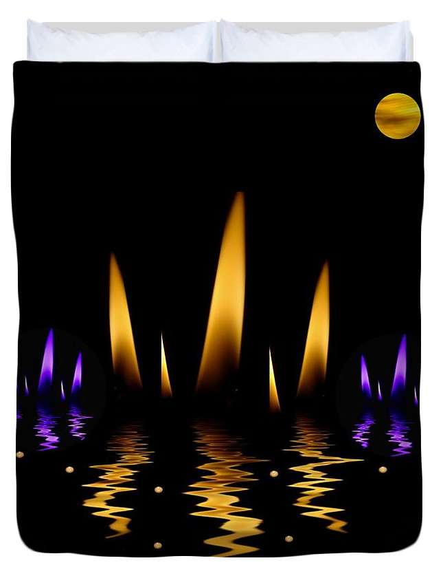 Lotus Duvet Cover featuring the mixed media Lotus On Fire In The Dark Night by Pepita Selles