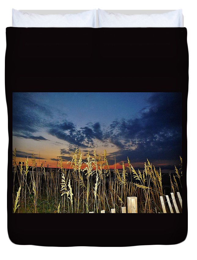Mark Lemmon Cape Hatteras Nc The Outer Banks Photographer Subjects From Sunrise Duvet Cover featuring the photograph Morning Predawn Avon Pier 7/26 by Mark Lemmon