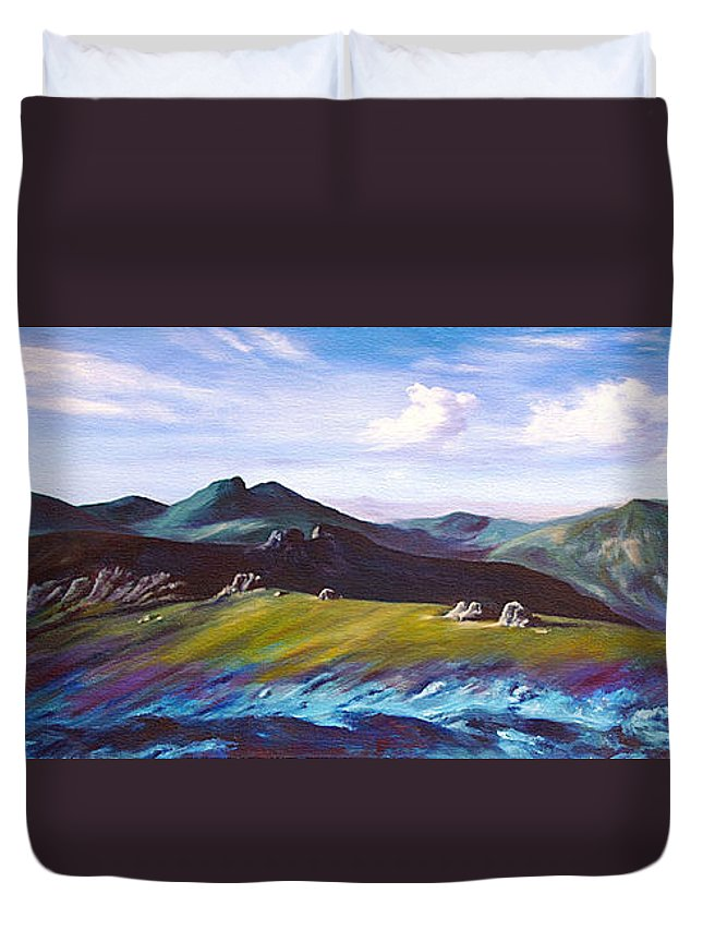 Irish Duvet Cover featuring the painting Mourne Mountains 1 by Anne Marie ODriscoll