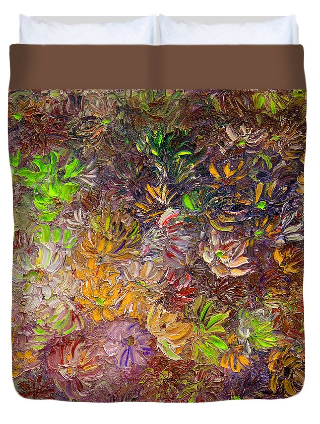 Green Abstract Duvet Cover featuring the painting My Pretty Green Pallet by Karin Dawn Kelshall- Best