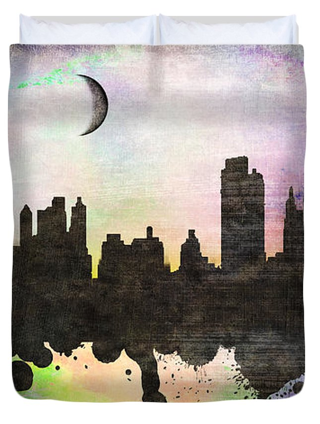 United States Duvet Cover featuring the painting New York 6 by Mark Ashkenazi