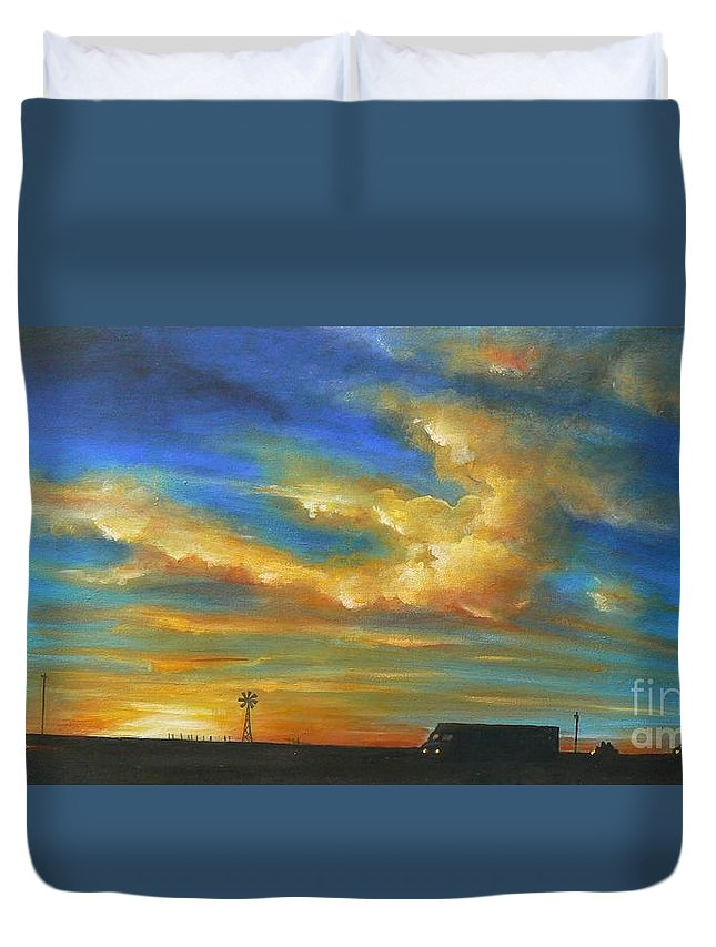 Acrylics Duvet Cover featuring the painting On Route 66 To Amarillo by Artist ForYou