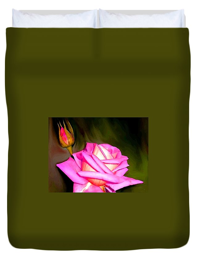 Painted Pink Rose Duvet Cover featuring the digital art Painted Pink Rose by Will Borden