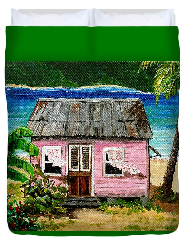 Caribbean House Duvet Cover featuring the painting Pink Caribbean House by Karin Dawn Kelshall- Best