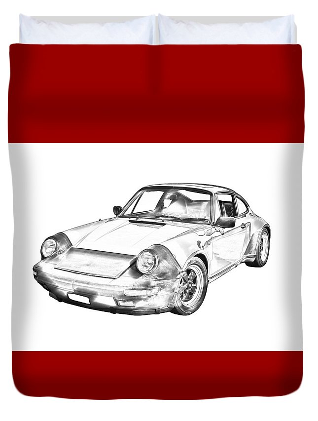 Vintage Duvet Cover featuring the photograph Porsche Carrera Sportscar Illustration by Keith Webber Jr