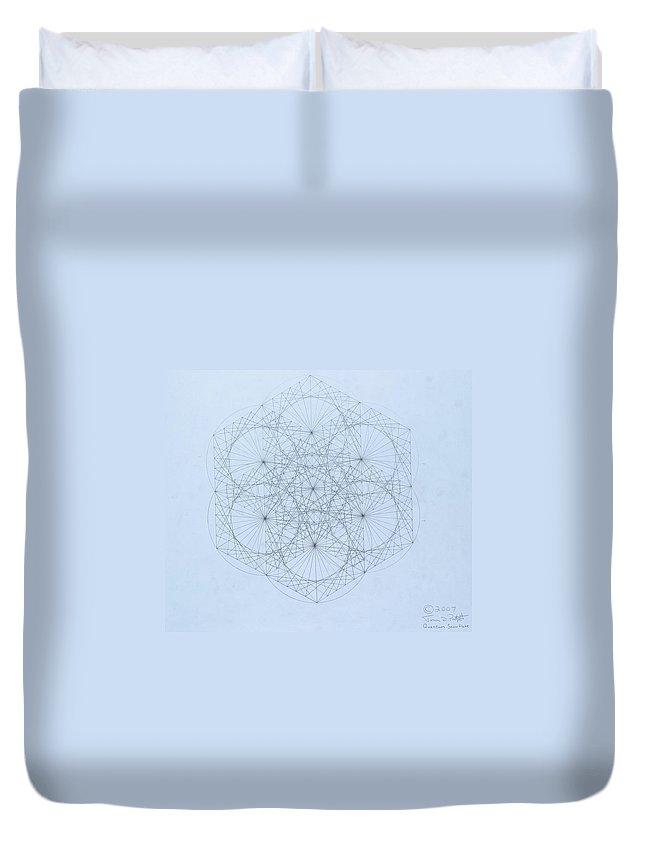 Jason Padgett Duvet Cover featuring the drawing Quantum Snowflake by Jason Padgett