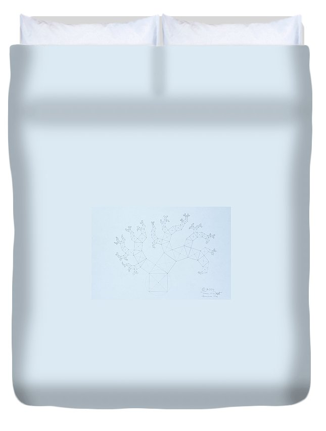 Fractal Tree Duvet Cover featuring the drawing Quantum Tree by Jason Padgett
