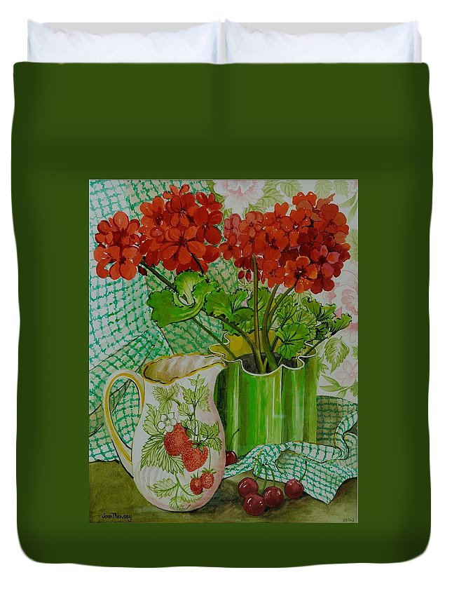 Flowers; Geraniums; Strawberries; Stoned Fruit; Berries; Arrangement; Pot Plant; Colorful; Chequered Cloth; Gingham; Still Life Duvet Cover featuring the painting Red Geranium With The Strawberry Jug And Cherries by Joan Thewsey