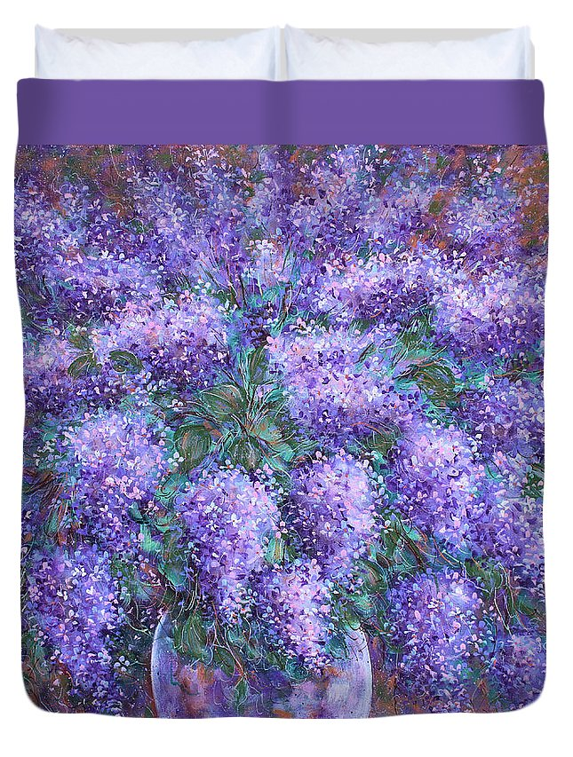 Flowers Duvet Cover featuring the painting Scented Lilacs Bouquet by Natalie Holland