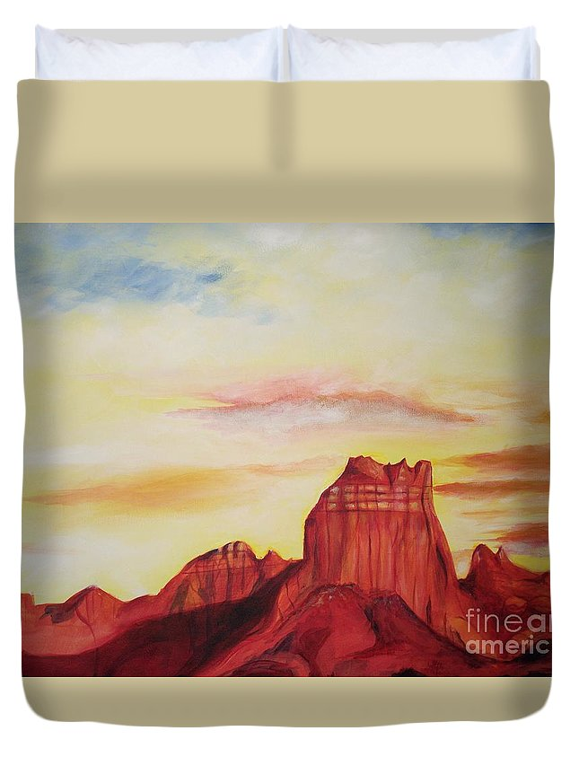 Western Duvet Cover featuring the painting Sedona Az by Eric Schiabor