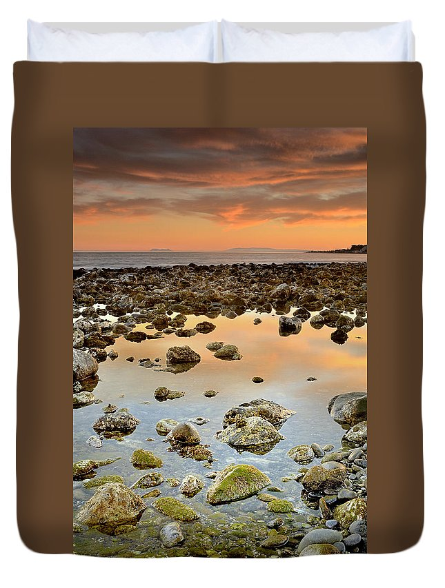 Seascape Duvet Cover featuring the photograph Spain Africa And Gibraltar In One Shot by Guido Montanes Castillo